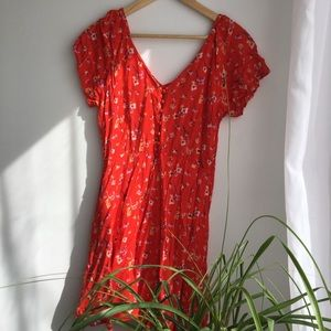 Lulus red floral mini dress
